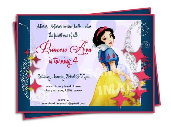 Snow White Invitation Disney Princess Birthday Party Printable – Disney Printable Birthday Invitations