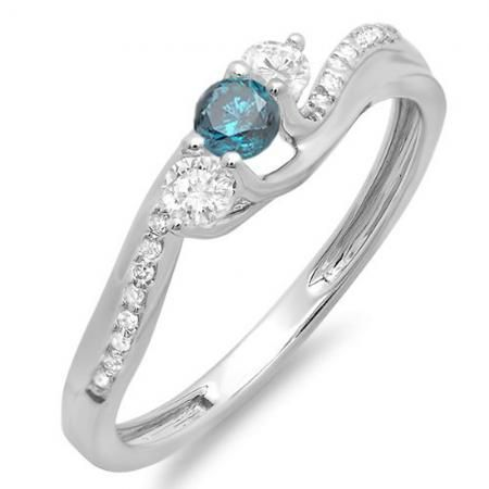 Share and get $20 off your order of $100 or more. 0.50 Carat (ctw) 18k White Gold Round Blue And White Diamond 3 Stone Ladies Swirl Bridal Engagement Ring 1/2 CT - Dazzling Rock #https://www.pinterest.com/dazzlingrock/