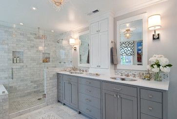 Grey and white bathroom with walk-in shower and pony wall for privacy - would this work for our layout?