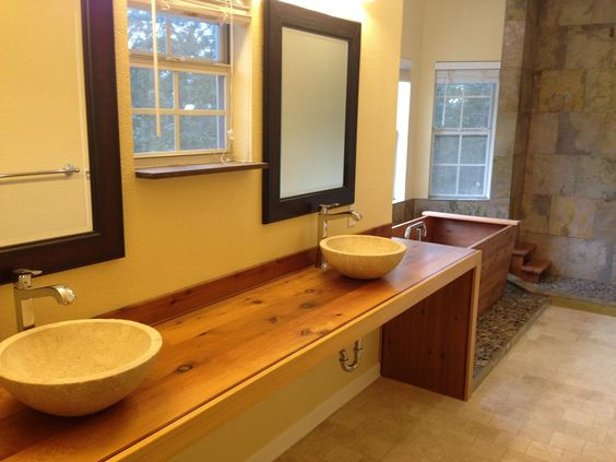 Bathroom counter handcrafted from western red cedar and trimmed with walnut and wenge woods by Austin Joinery Custom Furniture www.AustinJoinery.com