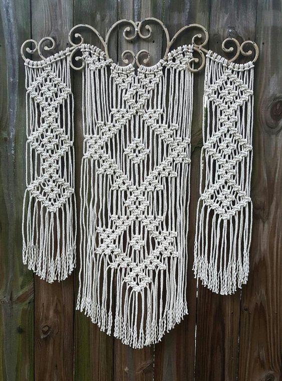 Large Ornamental Iron Macrame Wall Hanging Irons