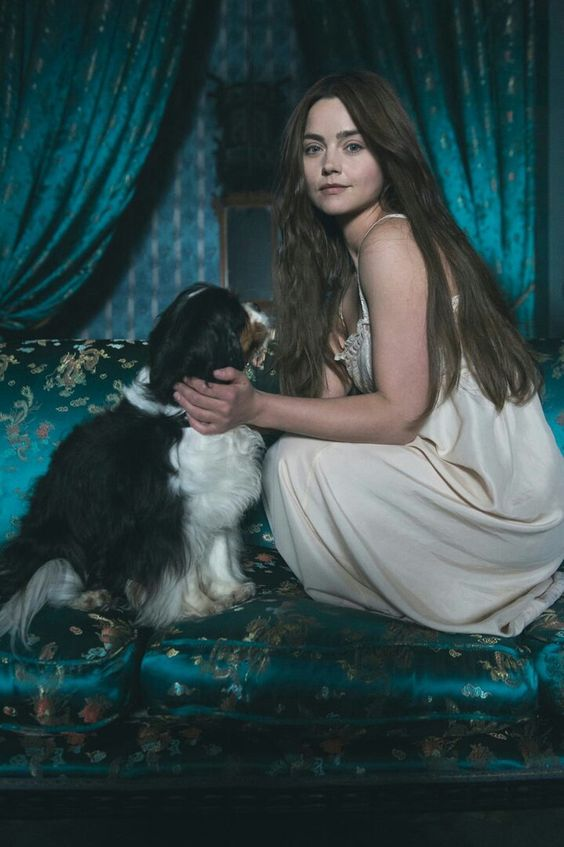 Ch 40.3 'She slipped into pleasant dreams, living in the Mayfair townhouse with her husband and Georgiana with a dog they had somehow acquired.'  This pic - Victoria itv- Jenna Coleman Tom Hughes