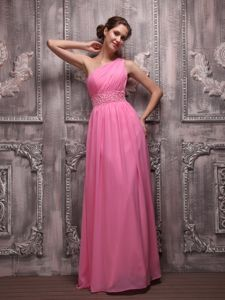 Chiffon Beaded Rose Pink One Shoulder Pageant Dresses For Miss USA