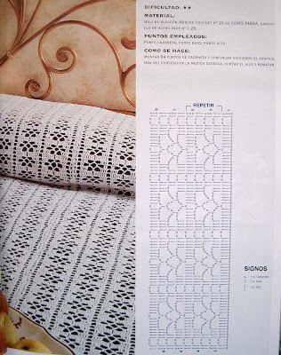 Crochet con amor: Una colcha  **GREAT PATTERN FOR CURTAINS, BEDSPREAD, TABLECLOTH, ETC**