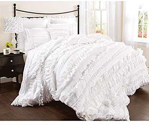Amazon Com Lush Decor Belle 4 Piece Ruffled Shabby Chic White Comforter Set With Bed Skirt And 2 Pillow Sham In 2020 White Ruffle Bedding White Bed Set Comforter Sets