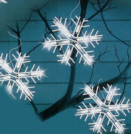 Set of 5 Polar White LED Lighted Snowflake Icicle Christmas Lights