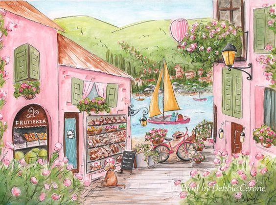 Shops lakes and nursery art on pinterest for Italian themed bedroom