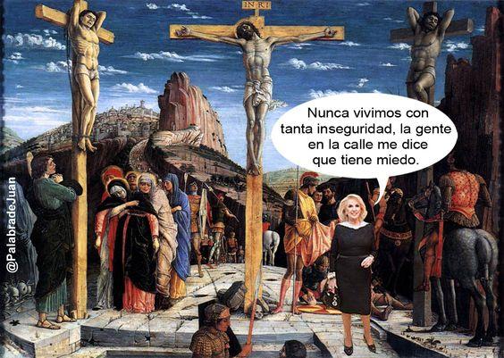 Resulta que en el álbum de Mirtha veo que Jesucristo fue crucificado en reemplazo de un salteador y junto a dos delincuentes... La pucha, y a mí me tenían medio convencido de que la inseguridad era un invento argentino, como la birome o el dulce de leche, viste?