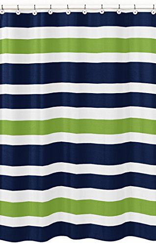 Navy Blue, Lime Green and White Kids Bathroom Fabric Bath Stripes Shower Curtain Sweet Jojo Designs http://www.amazon.com/dp/B00N2UBGKI/ref=cm_sw_r_pi_dp_Zo.oub1DRWYAH
