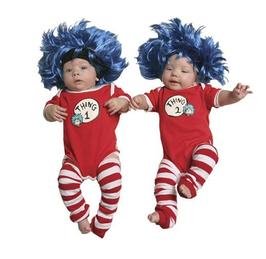 Dr. Seuss Thing 1 and Thing 2 baby Halloween costume using BabyLegs Red & White Stripe legwarmers.