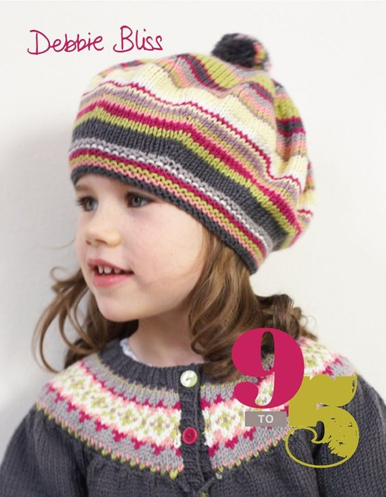 9 to 5 by  Debbie Bliss. 9 to 5 is a collection of knits for the in-betweeners, too old to be toddlers, too young to be teens. A much ignored age group these designs are directed towards them with sporty sweaters for boys and tomboys and pretty tops and accessories for girls.