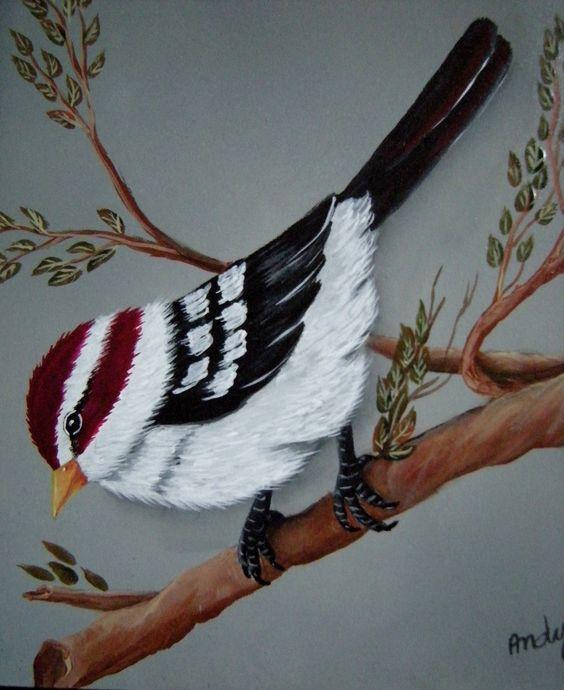 Passarinho branco - acrílica sobre madeira de Mary Paiva (Andy) - internet.