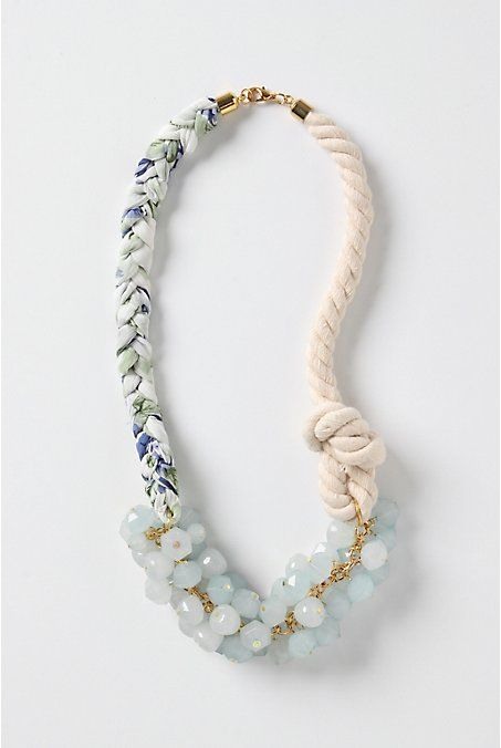 DIY Anthropologie Knockoff - Set Ashore Necklace! another great tutorial using fabric, rope & beads... great step by step tutorial with pictures!