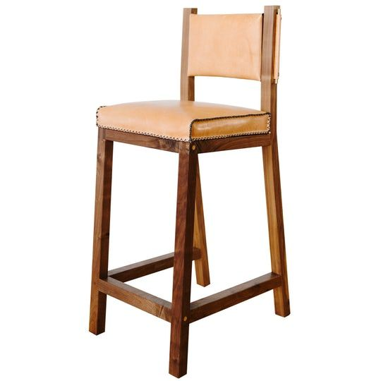 Khwarizmi Leather And Walnut Counter Height Stool Contemporary Midcentury Modern Modern Wood Le Upholstered Bar Stools Leather Stool Counter Height Stools