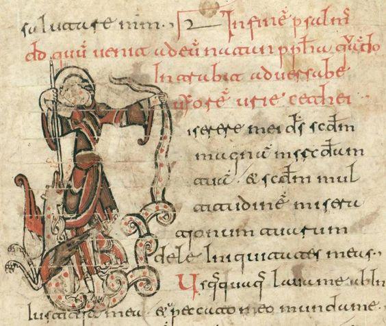 Saint George slays the Dragon, Psalter of San Millan de la Cogolla, Spain, 11th century AD Biblioteca da la Real Academia de la Historia, Madrid