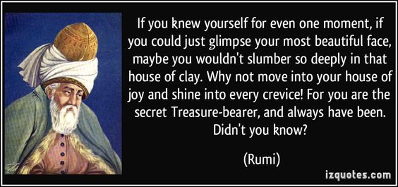 Rumi's quotes points us to within to discover of infinite nature of joy and magnificence.