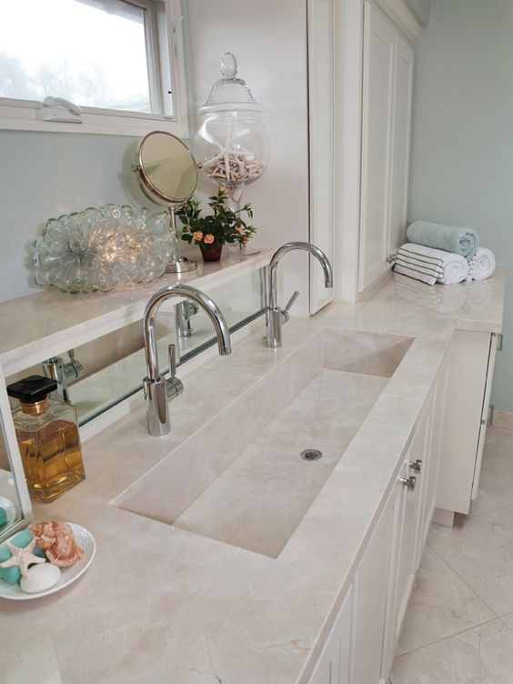 Double trough sink uses less space than 2 sinks - Bathroom trough sink double faucet ...