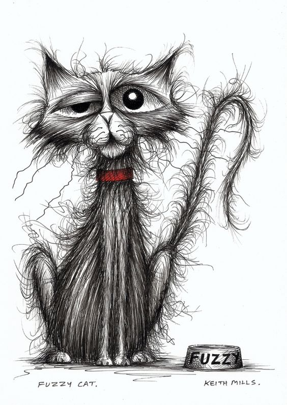 Scraggly cat in search of a good home - original ink drawing by Keith Mills on Folksy: