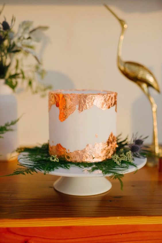 Copper foil wedding cake: