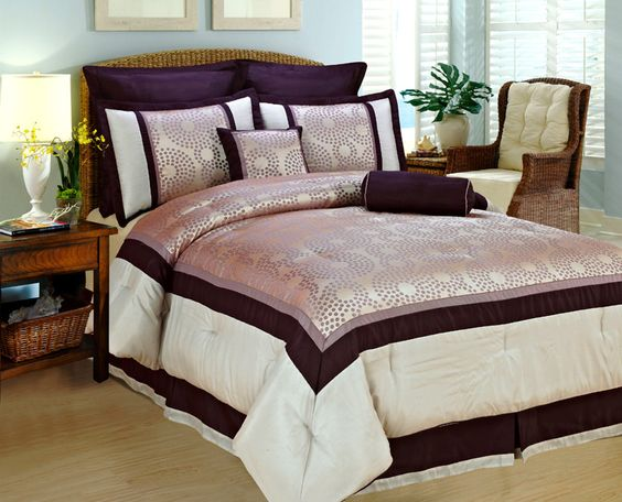 8 Piece Queen Purple Polka Dot Comforter Set