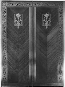The elevator doors were made to match the motif of the elegant new ocean liners, 1931, Higbee's Department Store, Cleveland