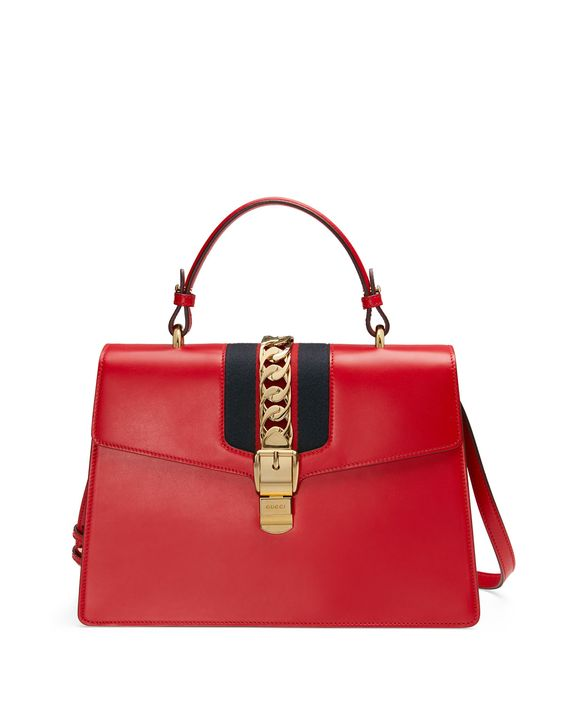 Sylvie Leather Top-Handle Satchel Bag, Red