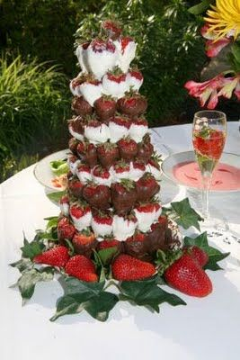 chocolate covered strawberry centerpiece for a strawberry soiree