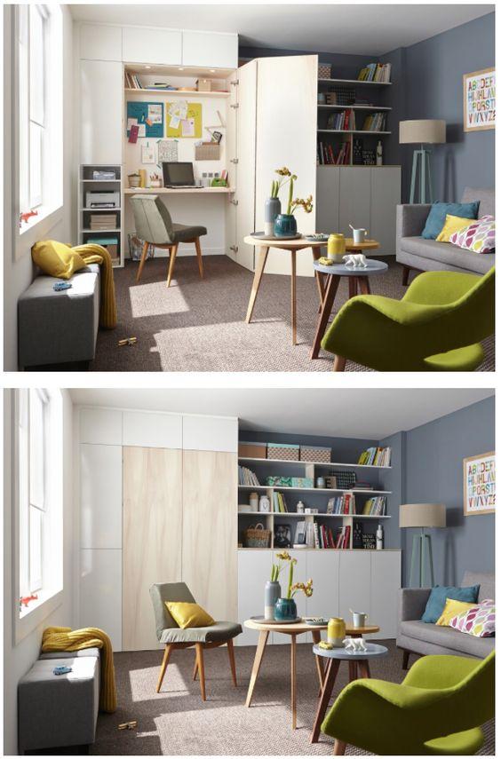 cacher son bureau dans un placard archi petits espaces pinterest fils merlin et bureaux. Black Bedroom Furniture Sets. Home Design Ideas