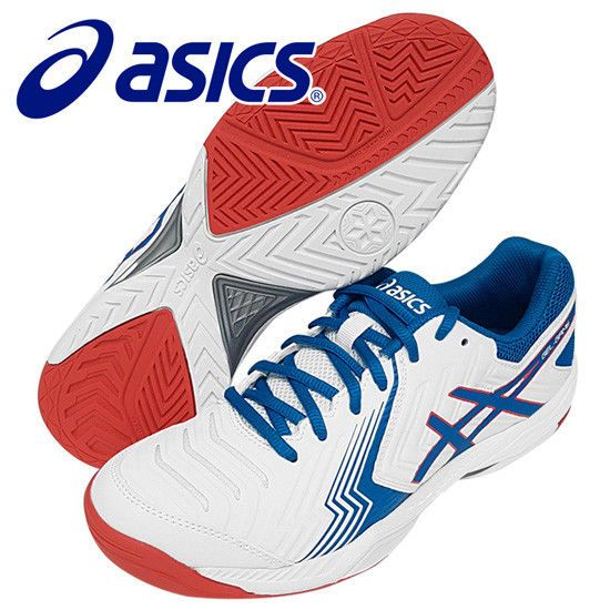 Asics Gel Game 6 Men S Tennis Shoes White Blue Racquet Racket Nwt E750y 100 Asics Mens Tennis Shoes Asics Tennis Shoes