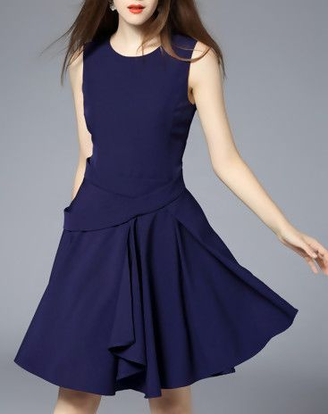 Navy Blue Sleeveless Plain Ruffled Mini Dress