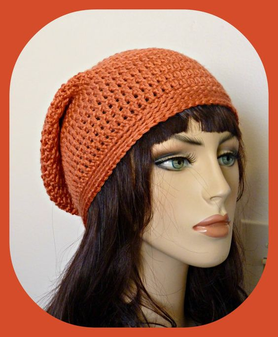 Rich Salmon Color Slouchy Beanie by MaxeyCrafts on Etsy,