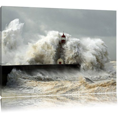 Lighthouse In Storm Photographic Print On Canvas Pixxprint Size 40cm H X 60cm W Canvas Prints Lighthouse Storm Art