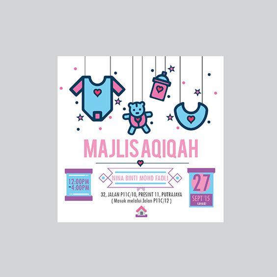 Invitation Card Majlis Aqiqah On Behance Invitation Cards Cards Invitations