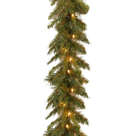 9 X 10 Pre Lit Tiffany Fir Artificial Christmas Garland With 50 Clear Lights Outdoor Christmas Garland Outdoor Garland Outdoor Christmas