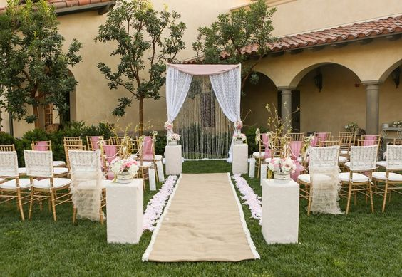 champagne and pink wedding ceremony - Google Search