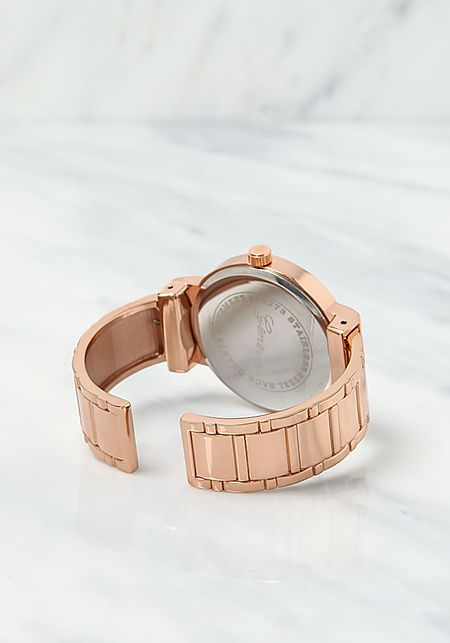 Rose Gold Analog Watch Cuff