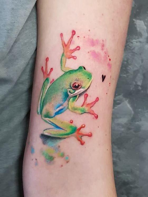 Simona Blanar Watercolor Frog Tattoo Frog Tattoos Antler
