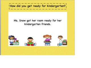 """""""Miss Bindergarten Gets Ready for Kindergarten""""  Connection lesson on how """"Ms. Rouse got her room ready for her kindergarten friends"""".  Show pictures of empty classroom and work in progress and finished and ready."""