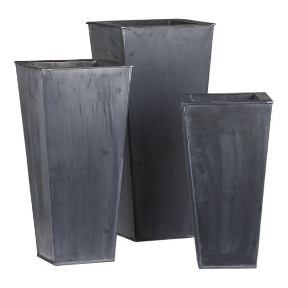 Crate & Barrel set of 3 Zinc Tall Square Planters  --> for the front porch