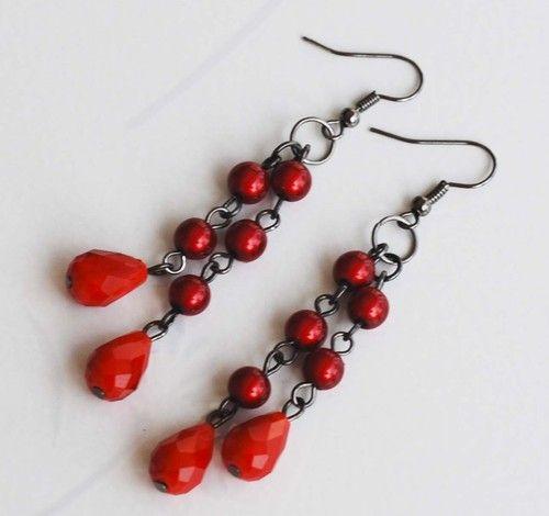 Hot Red Teardrop Crazy Red Bead Earrings