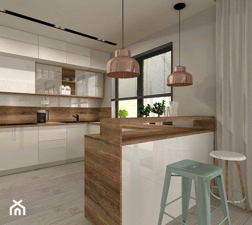 Aranzacja Kuchni I Salonu W Domu Jednorodzinnym Srednia Otwarta Kuchnia W Ksztalcie Litery U Z Wyspa Sty Modern Kitchen Design Kitchen Design Modern Kitchen