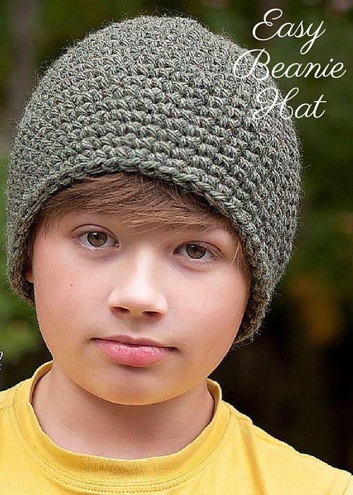 Crochet Hat Pattern Teenager : Crochet PATTERN - Easy Crochet Beanie Hat Pattern Boys ...