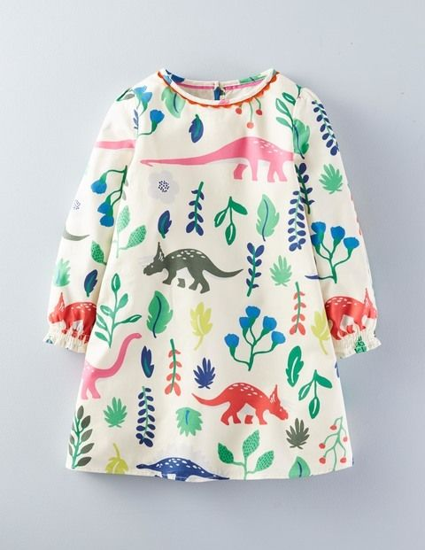 Perfect dress for Addison - pretty and girly whilst rocking Dinos Florasaurus Smock Dress 33415 Day Dresses at Boden