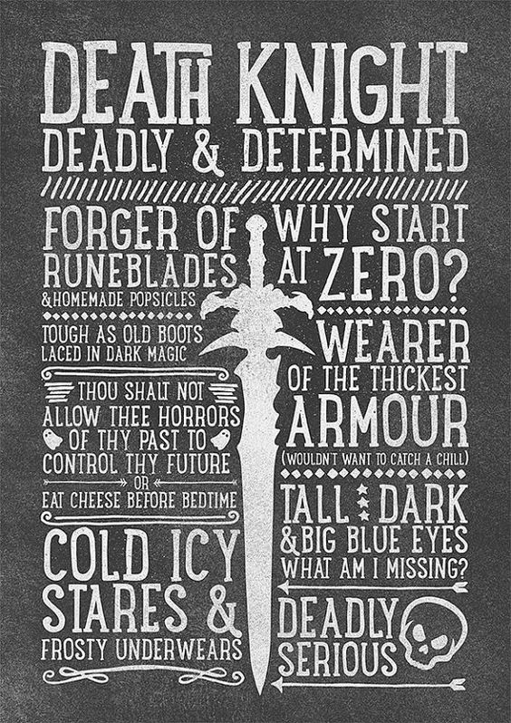 World of Warcraft / Roleplaying Medieval / Fantasy Inspired Type Print - DEATH KNIGHT Edition
