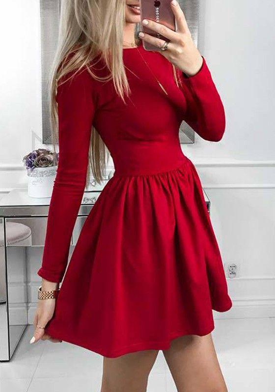 Robe Courte Evasee Plisse Tutu Manches Longues Elegant Rouge Robe Courte Robe Soiree Longue Robe