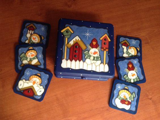 Caja navide a con porta vasos navidad pintura madera - Cajas madera manualidades ...