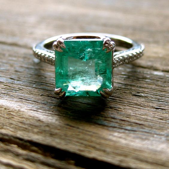 Colombian Emerald & Diamond Engagement Ring in 18K White Gold with Scrolls and Double Claw Prongs Size 5.5 - Cost Covers Setting Only!