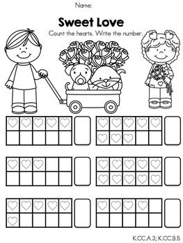 math worksheet : ten frames kindergarten math worksheets and sweet love on pinterest : Valentines Day Math Worksheets