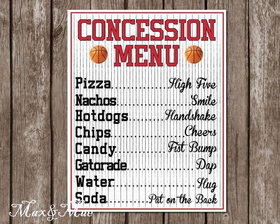 Sports Concession Menu Basketball Party Decor by MaxandMaeInvites