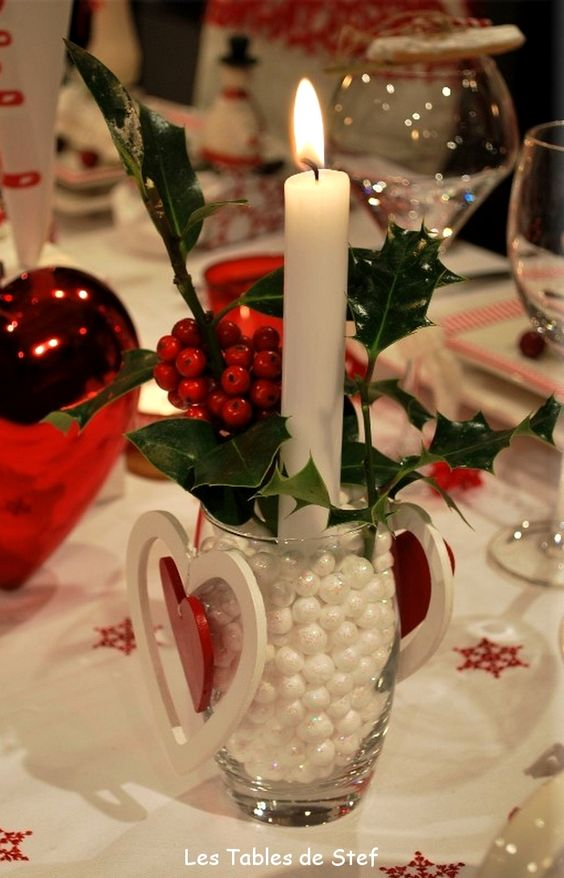 Une d co de table aux couleurs de no l christmas decorating no l d coration diy f tes de fin d - Table de fete decoration noel ...